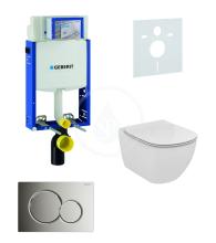 Geberit Kombifix Sada pro závěsné WC + klozet a sedátko softclose Ideal Standard Tesi - sada s tlačítkem Sigma01, chrom 110.302.00.5 NE2