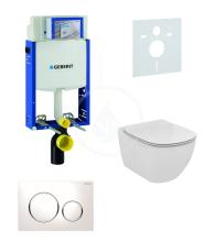 Geberit Kombifix Sada pro závěsné WC + klozet a sedátko softclose Ideal Standard Tesi - sada s tlačítkem Sigma20, bílá/lesklý chrom/bílá 110.302.00.5 NE4
