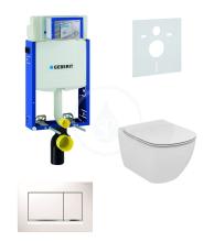 Geberit Kombifix Sada pro závěsné WC + klozet a sedátko Ideal Standard Tesi - sada s tlačítkem Sigma30, bílá/lesklý chrom/bílá 110.302.00.5 NF5
