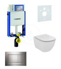Geberit Kombifix Sada pro závěsné WC + klozet a sedátko Ideal Standard Tesi - sada s tlačítkem Sigma30, lesklý/matný/lesklý chrom 110.302.00.5 NF6