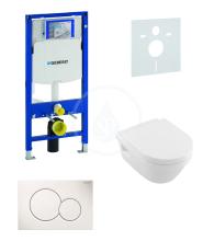 Geberit Duofix Sada pro závěsné WC + klozet a sedátko softclose Villeroy & Boch - sada s tlačítkem Sigma01, bílé 111.300.00.5 NB1