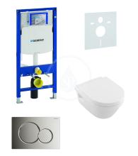 Geberit Duofix Sada pro závěsné WC + klozet a sedátko softclose Villeroy & Boch - sada s tlačítkem Sigma01, chrom 111.300.00.5 NB2