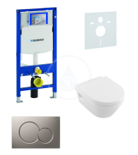 Geberit Duofix Sada pro závěsné WC + klozet a sedátko softclose Villeroy & Boch - sada s tlačítkem Sigma01, matný chrom 111.300.00.5 NB3