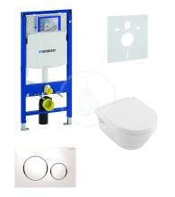 Geberit Duofix Sada pro závěsné WC + klozet a sedátko softclose Villeroy & Boch - sada s tlačítkem Sigma20, bílá/lesklý chrom/bílá 111.300.00.5 NB4