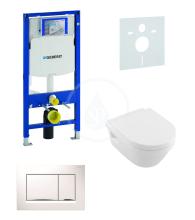 Geberit Duofix Sada pro závěsné WC + klozet a sedátko softclose Villeroy & Boch - sada s tlačítkem Sigma30, bílá/lesklý chrom/bílá 111.300.00.5 NB5