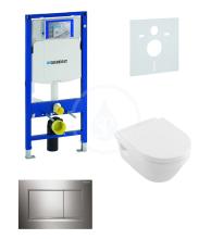 Geberit Duofix Sada pro závěsné WC + klozet a sedátko softclose Villeroy & Boch - sada s tlačítkem Sigma30, lesklý/matný/lesklý chrom 111.300.00.5 NB6