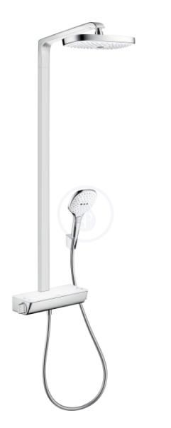 Showerpipe 300 2jet EcoSmart, termostatická sprchová baterie, sprchové rameno 380 mm, bílá/chrom