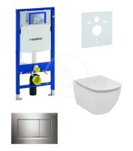 Geberit Duofix Sada pro závěsné WC + klozet a sedátko Ideal Standard Tesi - sada s tlačítkem Sigma30, lesklý/matný/lesklý chrom 111.300.00.5 NF6