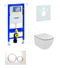 Geberit Duofix Sada pro závěsné WC + klozet a sedátko softclose Ideal Standard Tesi - sada s tlačítkem Sigma20, bílá/lesklý chrom/bílá 111.355.00.5 NE4