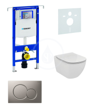 Geberit Duofix Sada pro závěsné WC + klozet a sedátko Ideal Standard Tesi - sada s tlačítkem Sigma01, matný chrom 111.355.00.5 NF3