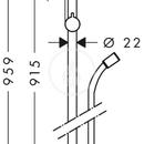 Sprchová tyč 0,90 m, chrom