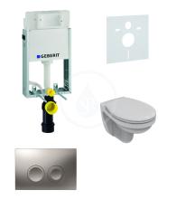 Geberit Kombifix Sada pro závěsné WC + klozet a sedátko Ideal Standard Quarzo - sada s tlačítkem Delta21, matný chrom 110.100.00.1 NR3