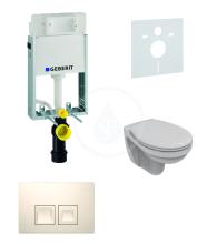Geberit Kombifix Sada pro závěsné WC + klozet a sedátko Ideal Standard Quarzo - sada s tlačítkem Delta50, bílé 110.100.00.1 NR4