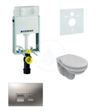 Geberit Kombifix Sada pro závěsné WC + klozet a sedátko Ideal Standard Quarzo - sada s tlačítkem Delta50, matný chrom 110.100.00.1 NR6