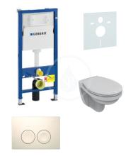 Geberit Duofix Sada pro závěsné WC + klozet a sedátko Ideal Standard Quarzo - sada s tlačítkem Delta21, bílé 458.103.00.1 NR1