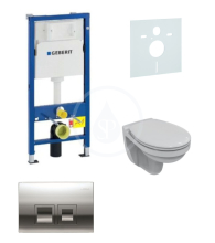 Geberit Duofix Sada pro závěsné WC + klozet a sedátko Ideal Standard Quarzo - sada s tlačítkem Delta50, chrom 458.103.00.1 NR5