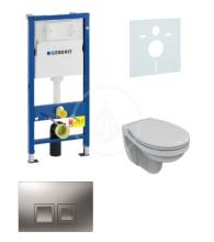 Geberit Duofix Sada pro závěsné WC + klozet a sedátko Ideal Standard Quarzo - sada s tlačítkem Delta50, matný chrom 458.103.00.1 NR6