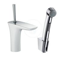 Hansgrohe PuraVida Umyvadlová baterie s ruční sprchou Bidette, s výpustí, bílá/chrom 15275400