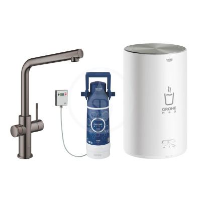 Dřezová baterie Duo s ohřevem vody a filtrací, zásobník M, Hard Graphite