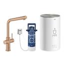 Dřezová baterie Duo s ohřevem vody a filtrací, zásobník M, kartáčovaný Warm Sunset