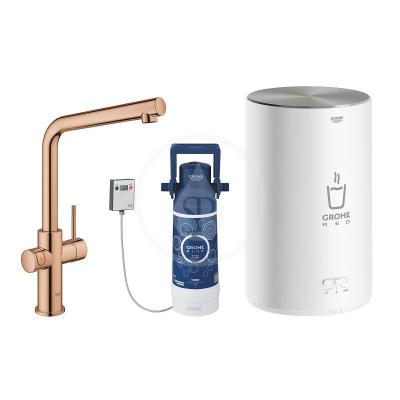 Dřezová baterie Duo s ohřevem vody a filtrací, zásobník M, Warm Sunset