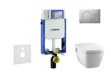 Set předstěnové instalace, sprchovací toalety a sedátka Tece, tlačítka Sigma01, Rimless, SoftClose, matný chrom