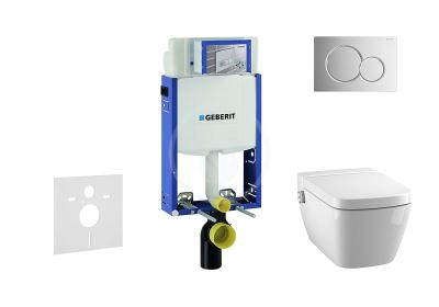 Set předstěnové instalace, sprchovací toalety a sedátka Tece, tlačítka Sigma01, Rimless, SoftClose, lesklý chrom