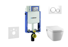 Set předstěnové instalace, sprchovací toalety a sedátka Tece, tlačítka Sigma20, Rimless, SoftClose, bílá/chrom