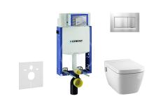Set předstěnové instalace, sprchovací toalety a sedátka Tece, tlačítka Sigma30, Rimless, SoftClose, chrom mat/chrom