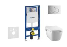 Geberit Duofix Set předstěnové instalace, sprchovací toalety a sedátka Tece, tlačítka Sigma01, Rimless, SoftClose, lesklý chrom 111.300.00.5 NT2