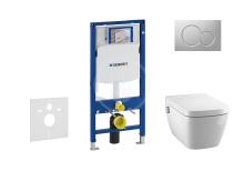Geberit Duofix Set předstěnové instalace, sprchovací toalety a sedátka Tece, tlačítka Sigma01, Rimless, SoftClose, matný chrom 111.300.00.5 NT3