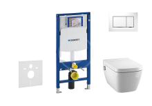 Geberit Duofix Set předstěnové instalace, sprchovací toalety a sedátka Tece, tlačítka Sigma30, Rimless, SoftClose, bílá/chrom 111.300.00.5 NT5