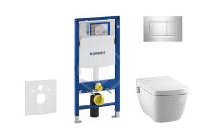 Geberit Duofix Set předstěnové instalace, sprchovací toalety a sedátka Tece, tlačítka Sigma30, Rimless, SoftClose, chrom 111.300.00.5 NT6