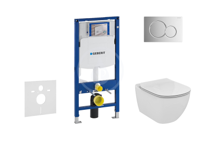 Set předstěnové instalace, klozetu a sedátka Ideal Standard, tlačítka Sigma01, Aquablade, SoftClose, lesklý chrom