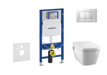 Geberit Duofix Set předstěnové instalace, sprchovací toalety a sedátka Tece, tlačítka Sigma30, Rimless, SoftClose, chrom mat/chrom 111.300.00.5 NT7
