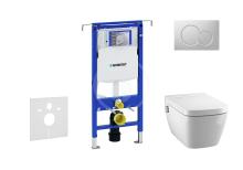 Geberit Duofix Set předstěnové instalace, sprchovací toalety a sedátka Tece, tlačítka Sigma01, Rimless, SoftClose, matný chrom 111.355.00.5 NT3