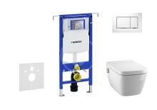 Set předstěnové instalace, sprchovací toalety a sedátka Tece, tlačítka Sigma30, Rimless, SoftClose, bílá/chrom