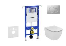Set předstěnové instalace, klozetu a sedátka Ideal Standard, tlačítka Sigma01, Aquablade, SoftClose, matný chrom
