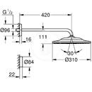 Hlavová sprcha 310 9,5 l/min s ramenem a dálkovým ovládáním, 2 proudy, chrom