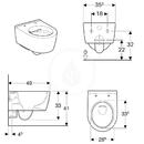 Závěsné kompaktní WC, Rimfree, s KeraTect, bílá
