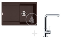 Franke Sety Kuchyňský set G40, granitový dřez MRG 611, tmavě hnědá + baterie FN 0147.031, chrom 114.0283.438