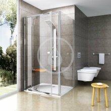 Sprchová stěna PPS-80, 770-795 mm, bílá/čiré sklo