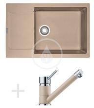 Franke Sety Kuchyňský set G77, granitový dřez MRG 611-78 BB, pískový melír + baterie FG 7477, pískový melír 114.0365.691