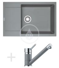 Franke Sety Kuchyňský set G77, granitový dřez MRG 611-78 BB, šedý kámen + baterie FG 7477, šedý kámen 114.0365.694