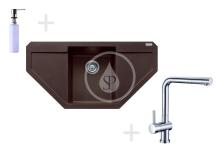 Franke Sety Kuchyňský set G85, granitový dřez MRG 612 E, tmavě hnědá + baterie Samoa, chrom + dávkovač FD 300 114.0365.829