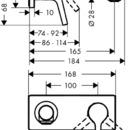 Páková umyvadlová baterie pod omítku s výtokem 165 mm, chrom