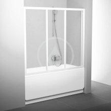 Vanové dveře třídílné AVDP3-120, 1170-1210 mm, bílá/čiré sklo
