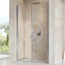 Sprchové dveře dvoukřídlé CSDL2-120, 1175-1205 mm, lesklý hliník/čiré sklo