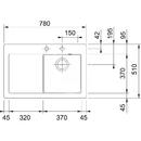 Keramický dřez MTK 611-78/7, 780x510 mm, Onyx