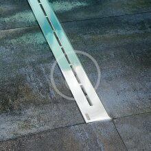 Sprchový odtokový žlab 300 mm, do prostoru, nerez